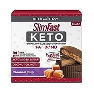 SlimFast Keto Fat Bomb Snacks, Caramel Cup, 17 Grams, 14 Pack Box