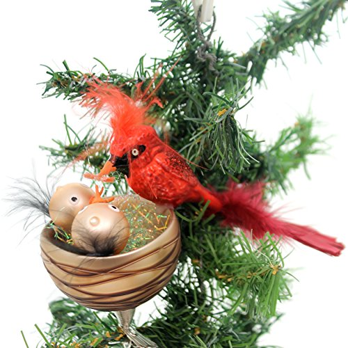 Golden Bell Collection NEST Feeding Cardinals Clip ON Ornament Red Bird Br454