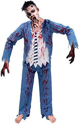 Partilandia Disfraz Zombie Colegial Azul para Hombre (M): Amazon ...