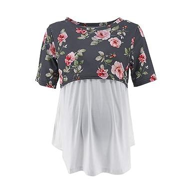 c1880b75d Amazon.com  Sameno Fashion Women s Pregnancy Short Sleeve Splicing ...