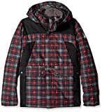 Spyder Boy's Garrison Jacket, Polar Box Plaid Print/Black, Large