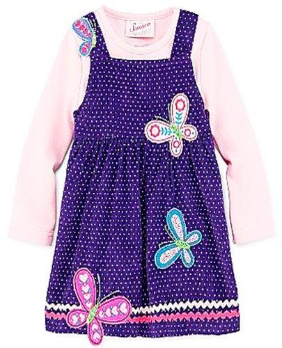 Samara, Soft Corduroy Embroidered Dress Jumper, Purple/Pink, 12mths