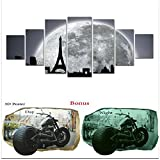 Large Canvas Wall Art Startonight Bundle Abstract Black and White Moon on Paris, Big Framed Painting, Free Gift 3D Poster Harley for Real Men