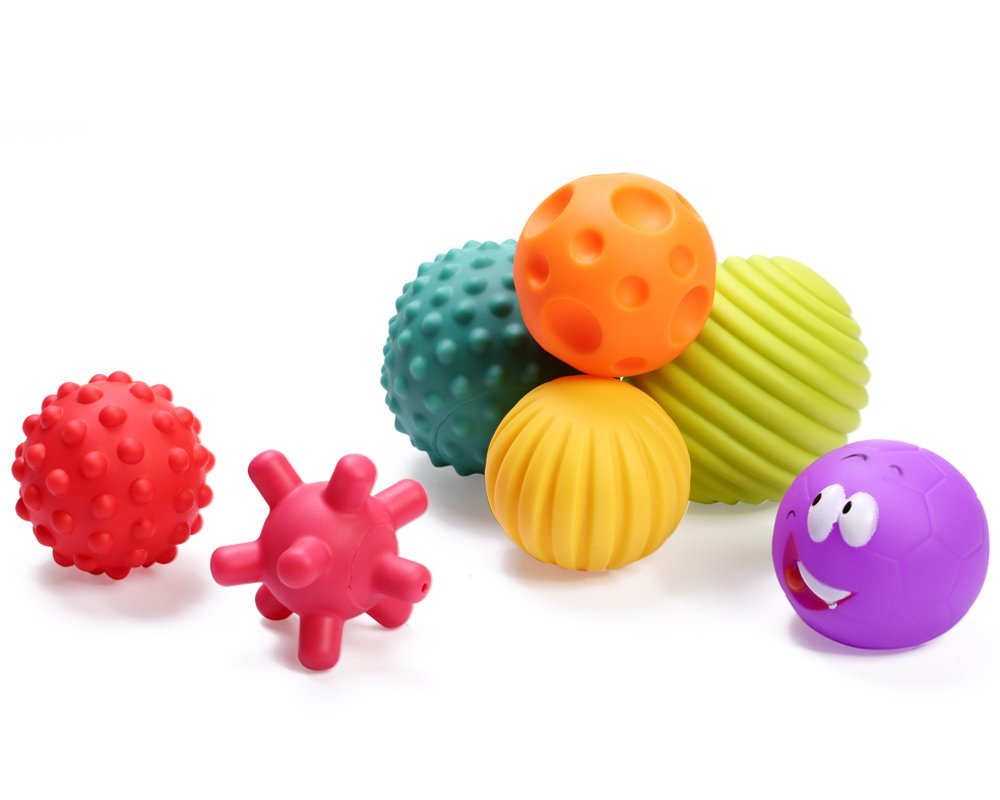 OleOletOy Sensory Balls for Baby- Great Variety In Texture and Color - Kids Rainbow Bath Toys- 7 Colorful Soft and Squeeze Sensory Toy Set for Babies & Toddlers - Kids BPA Free Water Toy