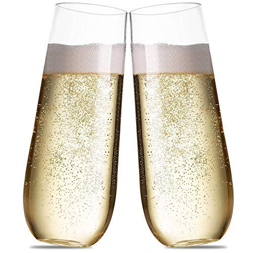 Plastic Champagne Flutes For Parties - 9 oz (Set of 15) - Disposable Stemless Champagne Glasses For A Mimosa Bar And Wedding Toasting. Unbreakable Stemware Cups Clear Like Glass For Cocktail, Wine
