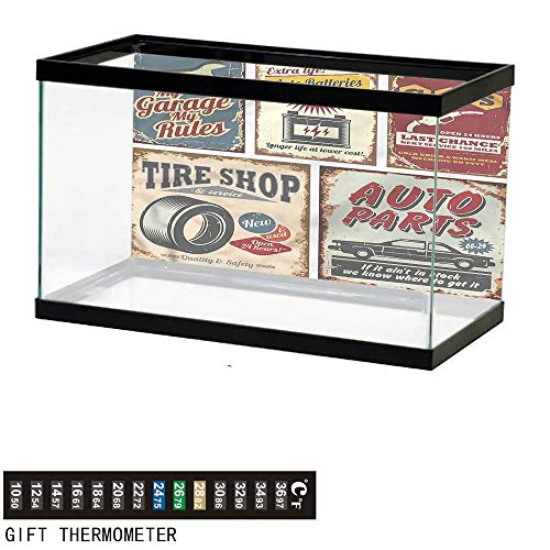 - bybyhome Fish Tank Backdrop 1950s,Advertising Vehicle Repair,Aquarium Background,36