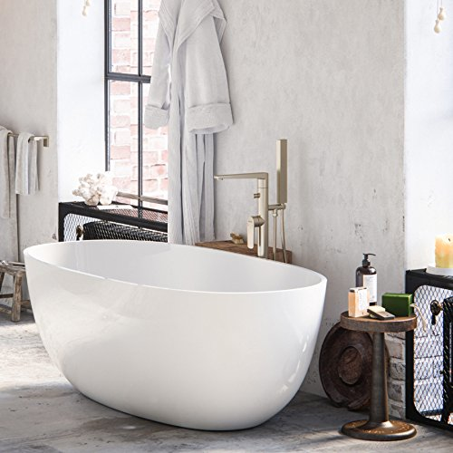 """MAYKKE Barnet 61"""" Modern Oval Acrylic Bathtub 