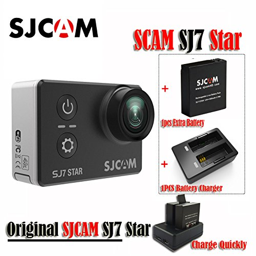 16GB TF Card+Original SJCAM SJ7 Star WiFi 4K 30FPS 2' Touch Screen Remote Action Helmet Sports DV Camera Waterproof Ambarella A12S75 Chipset+1pcs Extra Battery +1pcs Double Charger (Black)