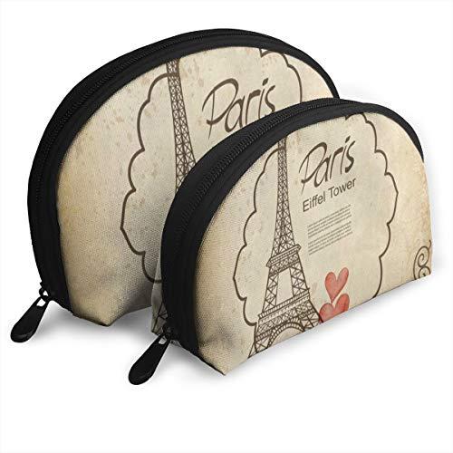 Pouch Zipper Toiletry Organizer Travel Makeup Clutch Bag Eiffel Tower Heart Damask Portable Bags Clutch Pouch Storage Bags