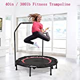 Fashine 40in Rebounder Trampoline With Adjustable Removable Handbar, Indoor Fitness Cardio Workout Trampoline for Kids Adults, Max Load 300lbs (US STOCK)