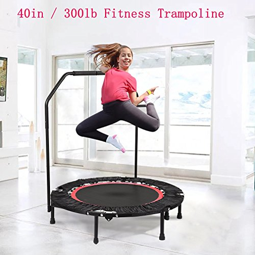 Fashine 40in Rebounder Trampoline With Adjustable Removable Handbar, Indoor Fitness Cardio Workout Trampoline for Kids Adults, Max Load 300lbs (US STOCK) by Fashine
