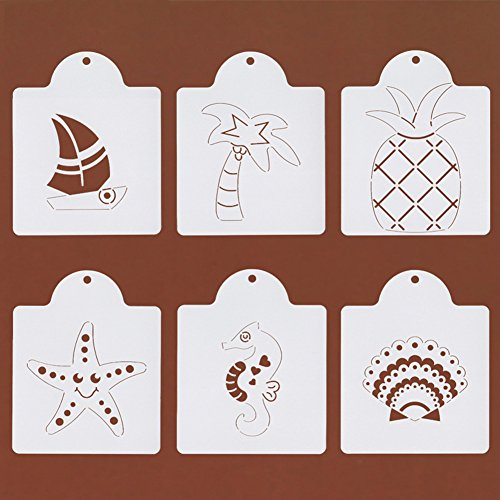 Beach Themed Cookie - Beach Themed Cookie Stencil Set - Set of 6 - Palm Tree, Starfish, Seashell, Seahorse, Sailboat and Pineapple - 4 3/4 Inches - White /semi-transparent