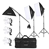 Andoer Studio Photo Video Lighting Kit with 12 x 45W Bulb Lamps / 3 x 4in1 Bulb Socket / 50 x 70cm Soft Boxes / Light Stands / Boom Light Stand Support / Boom Arm / Carrying Bag UK Plug