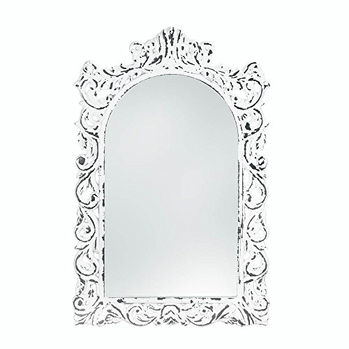 Accent Plus Distressed White Ornate Wood Wall Mirror (Victorian Wood Mirror)