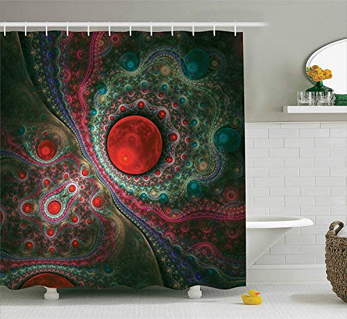 Pearls Shower Curtain,Round Circle Object Motifs Sphere Forms Vintage Medieval Design Pearls Oyster Dark Print,Bathroom Decor Set with Hooks, 72 Inches Long,Machine Washable,Red Green