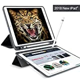#5: JUQITECH New iPad 9.7 Case 2018 with Pencil Holder,Flexible Soft TPU 6th Generation case Slim-Fit Trifold Stand Folio Smart Cover for the new 9.7 inch Apple iPad 2018 only.Black