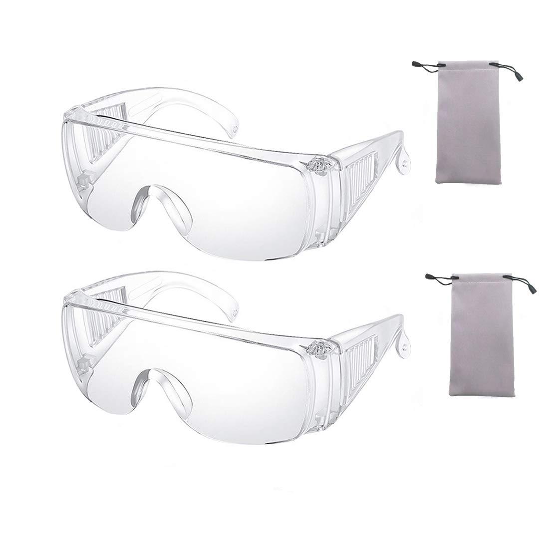 2 Piezas Claro Seguridad Lentes Personal Protector Equipo Transparente Gafas Protección UV Proteccion Adulto Terminado Lentes para Construcción, Laboratorio, Química Clase