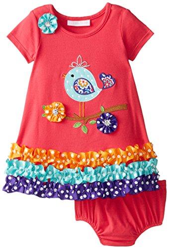 Babies Applique Coral (Bonnie Baby Baby Girls' Bird Applique Dress, Coral, 12 Months)