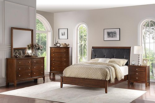 Bedroom Set 5 Pcs Matching Case Goods and Featuring French Style Sleigh Platform Bed (Hardwood Bedroom Furniture Sets)