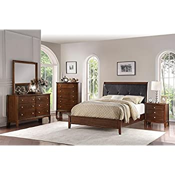 Bedroom Set 5 Pcs Matching Case Goods and Featuring French Style Sleigh Platform Bed
