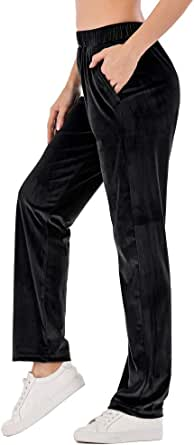 OMG_Shop Womens Jogger Pants Active Yoga Pants Velour Sweatpants Casual Loose Trousers with Pockets