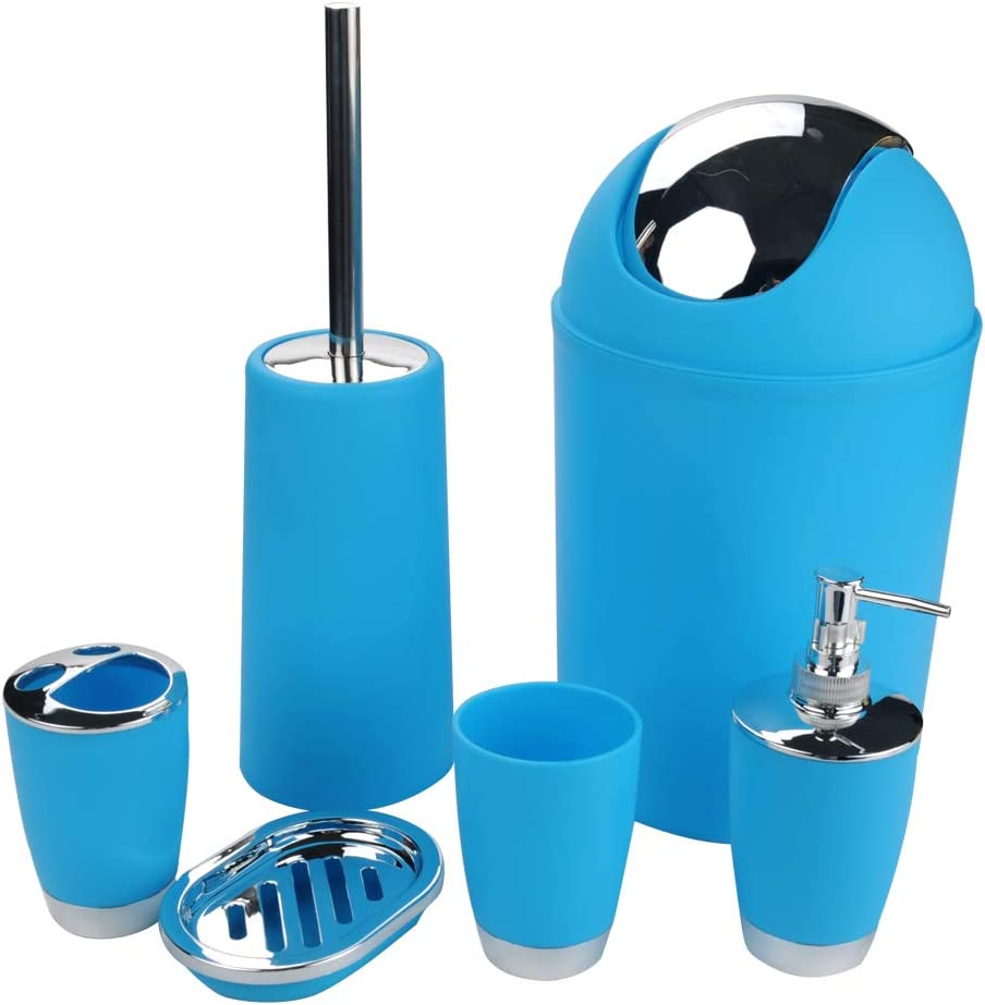 Etiger 6pcs Bathroom Accessory Set Toilet Brush for Home Sprayer Bottle Blue Rinse Cup Waste Bin Including Toothbrush Holder Apartment Bathroom Accessories Set Soap Dish