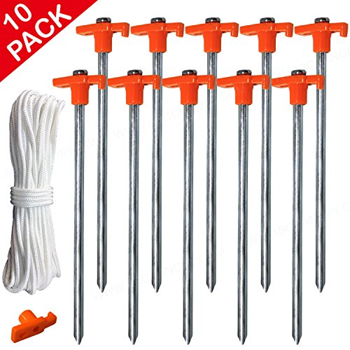 ABCCANOPY Tent Stake Pegs Garden Stakes, 10pcs Galvanized Non-rust 10'' Pop up Pergolas Canopy Accessories Gazebo Accessories Peg Stakes with Orange Stopper Bonus 4pcs 10ft Ropes & 1 PVC (Rust Trim)