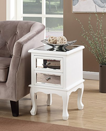 Convenience Concepts Gold Coast Collection Queen Anne Mirrored End Table, White by Convenience Concepts
