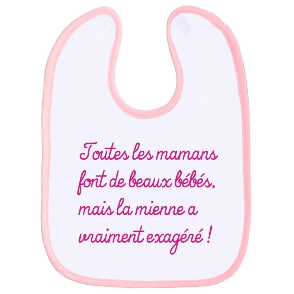 cadeau de naissance Rose f/ête des m/ères maman humour bavoir enfant plus beau b/éb/é texte marrant Bavette b/éb/é