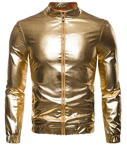 2 Men's Slim Fit Zip Shiny Long Metallic Sleeve Hipster EKU up Night Club Jacket O8Uwqd8pz