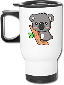 Funny Travel Mugs with Handle Double Walled Stainless Steel Tumblers Cute Koala Vacuum Insulated Easy Clean Lid Reusable Coffee Cup Gift Silver, 14 oz