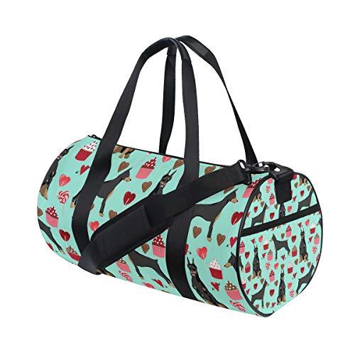 (Gym Duffel Bag Doberman Pinscher Dog (2) Training Duffle Bag BaLin Round Travel Sport Bags for Men Women)