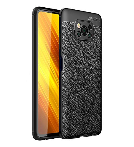 Golden Sand Cover Leather Texture Series Shockproof Armor TPU Back Cover Case for Xiaomi Poco X3 Pro [Not for Poco X3] Mobile Phone, Phantom Black
