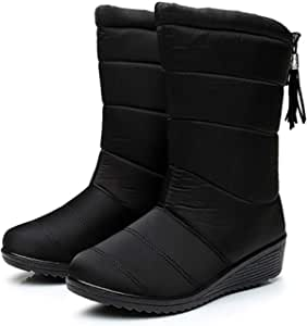 FuAo 2021 Nuevo Mujer Vendaje Clásico Lluvia Nieve Forrada de Piel Zapato Invierno Bota per Chicas y Dama Size 36-4437-Black