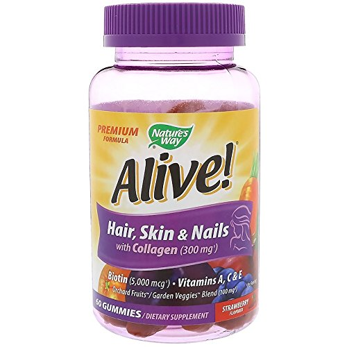 Nature's Way, Alive! Hair, Skin & Nails with Collagen, Strawberry Flavored, 60 Gummies -