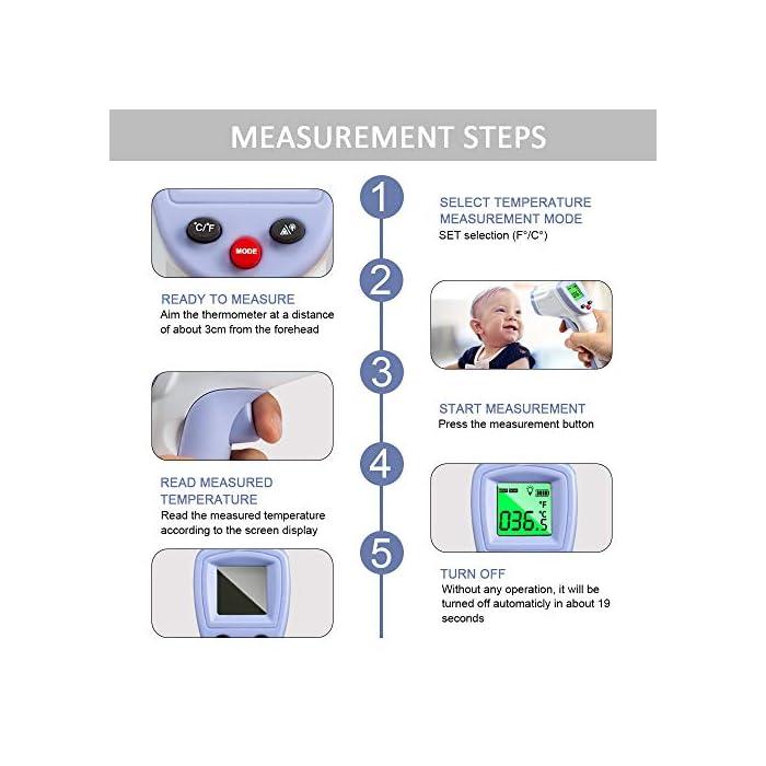51QpPaj4h8L 【PRECISO Y RÁPIDO】 El termómetro de cuerpo infrarrojo sin contacto ha sido probado para precisión (desviación de medición ≤ ± 0.2 grados) y confiabilidad. Solo necesita presionar un botón cuando use este termómetro digital de frente, luego proporcionará una temperatura precisa al instante en 1 segundo. 【SIN CONTACTO】 No necesita ponerse en contacto con el cuerpo cuando use este termómetro. Se puede detectar dentro de una distancia de 2 cm a 5 cm. 【SEGURO E HIGIÉNICO】 Termómetro infrarrojo LCD digital sin contacto, pantalla más clara, más segura y más conveniente. En comparación con el termómetro de mercurio, no hay peligro de romper el vidrio o tragar mercurio.