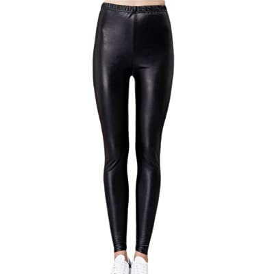 Romastory Women's Regular Slim Leggings Girls Thin Faux Leather Elastic Tights Pants