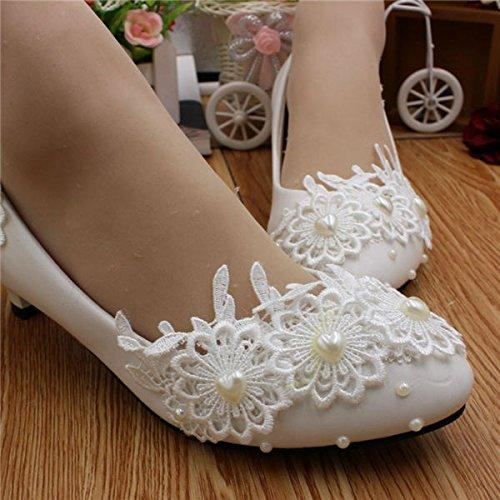 5 4 blanca Jingxinstore De 8 Boda Blanco Cordn Mujeres 1 Zapatos Nupcial us Perla 6 Cm 1wzfqH
