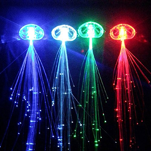 Light Up LED Hair Lights Extensions for Party Favors, Multi Red, Blue, Green, White, and Color Changing Fiber Optics for Hair 15 -