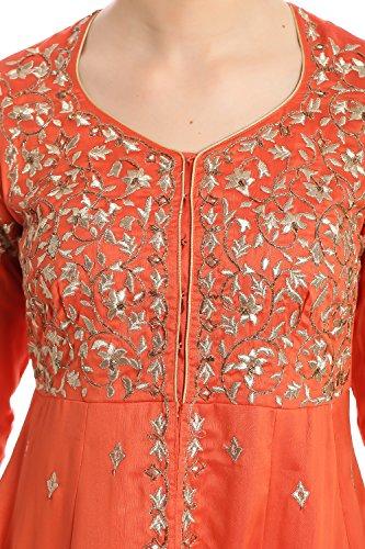 BIBA Women's Front Open Poly Cotton Suit Set 36 Orange by Biba (Image #4)