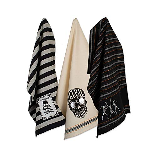 DII CAMZ10637 Cotton Halloween Holiday Dish, Decorative Oversized Towels, Perfect Home and Kitchen Gift, Set of 3, Skeleton ()