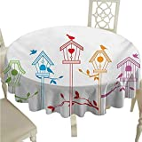 Birds Easy Care Tablecloth Sweet Colorful Bird Houses Nest with Flying Birds on