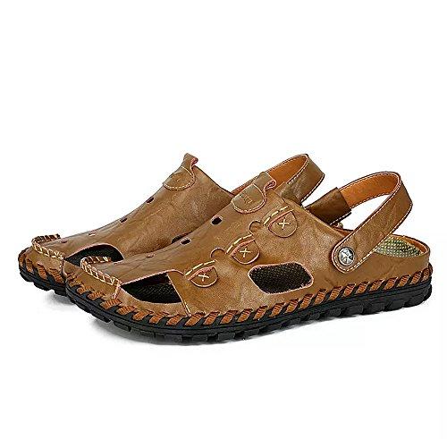 (Men Outdoor Sandals Breathable Summer Beach Shoes Closed Toe Walking Fisherman Anti-Slip Comfortable Casua(9.5-10 M US,27 cm Heel to Toe Brown)