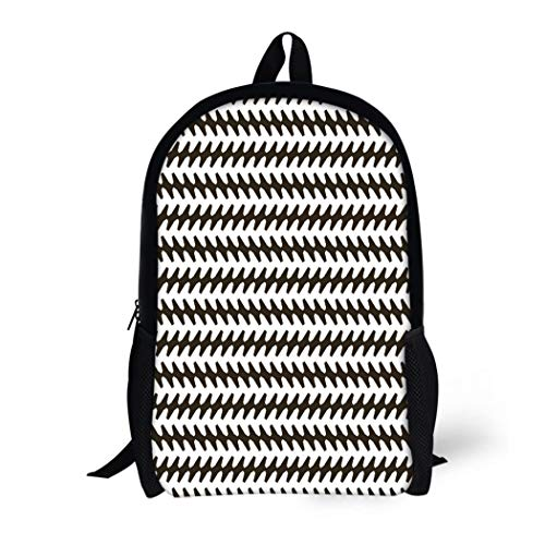 Pinbeam Backpack Travel Daypack Abstract Pattern Jagged Stripes in Black and White Waterproof School Bag (Ribbed Grade Pattern)
