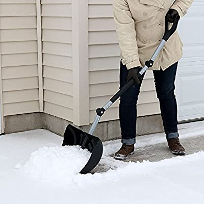 CASL Brands Ergonomic Snow Shovel Pusher, Adjustable Combo Design, 18 Inch