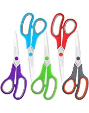 "Scissors Bulk Set of 5-Pack, Niutop 8"" Multipurpose Sharp Scissors for Office Home High/Middle School Student Teacher Scissor Supplies, Soft Comfort-Grip Right/Left Handles"