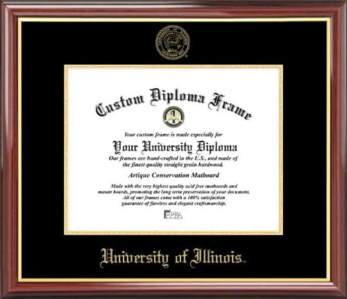 - Laminated Visuals University of Illinois Fighting Illini - Embossed Seal - Mahogany Gold Trim - Diploma Frame
