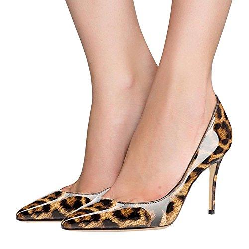 Fsj Donna Sexy Abito Leopardo Stampato Scarpe A Punta Tacco Alto Tacchi A Spillo Pompe Taglia 4-15 Us Leopard-8 Cm