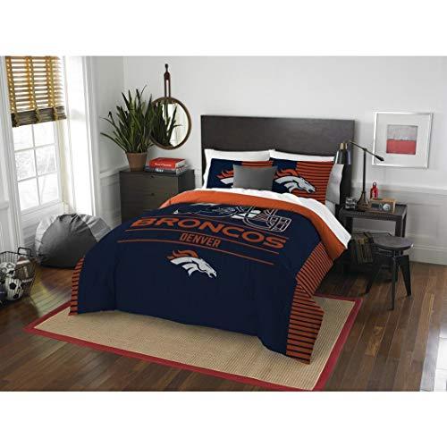 - 3 Piece NFL Broncos Comforter Full Queen Set, Blue Orange Multi Football Themed Bedding Sports Patterned, Team Logo Fan Merchandise Athletic Team Spirit Fan, Polyester, For Unisex