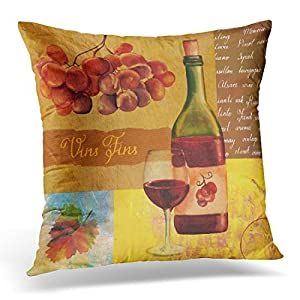 Emvency Throw Pillow Cover Vintage Wine Collage with Watercolour Drawing of Bottle and Glass Red Handwritten Text 'Fine Wines' Decorative Pillow Case Home Decor Square 18x18 Inches Pillowcase